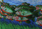 School  Painting Originals - School of Blue Gills  by Bob Crawford