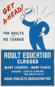 1940s Poster Art Framed Prints - School, Poster Encouraging Adults Framed Print by Everett