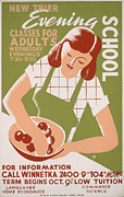 1940s Poster Art Photos - School, Poster Showing A Woman Wearing by Everett
