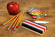 Desk Photo Prints - School supplies  Print by Sandra Cunningham