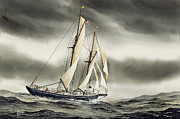 Nautical Greeting Card Prints - Schooner BLACKFISH Print by James Williamson