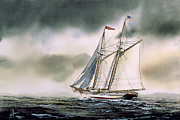 Sailing Greeting Cards Prints Prints - Schooner HERITAGE Print by James Williamson