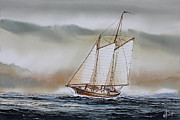 Nautical Print Painting Originals - Schooner MICKEY FINN by James Williamson