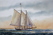 Nautical Print Painting Originals - Schooner STEPHEN TABER by James Williamson