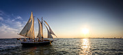 Charleston Sunset Posters - Schooner Welcome Sunset Charleston SC Poster by Dustin K Ryan