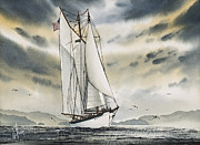 Tall Ship Painting Prints - Schooner ZODIAC Print by James Williamson