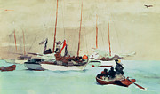 Sailing Ships Framed Prints - Schooners at Anchor in Key West Framed Print by Winslow Homer