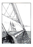 New England Ocean Drawings Prints - Schooners Print by James Oliver