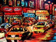 Montreal Landmarks Paintings - Schwartzs Deli At Night by Carole Spandau