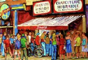 Montreal City Scapes Paintings - Schwartzs Deli Lineup by Carole Spandau