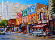 French Cities Paintings - Schwartzs Deli Montreal Street Scene by Carole Spandau