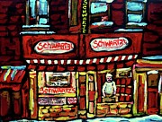 Montreal Restaurants Paintings - Schwartzs Deli Window Montreal At Night by Carole Spandau