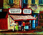 Montreal Street Life Painting Prints - Schwartzs Famous Smoked Meat Print by Carole Spandau