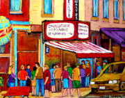 Montreal Neighborhoods Paintings - Schwartzs Hebrew Deli Montreal Streetscene by Carole Spandau