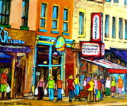 Montreal Summer Scenes Framed Prints - Schwartzs Hebrew Deli On St. Laurent In Montreal Framed Print by Carole Spandau