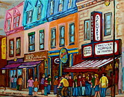 Montreal Cityscenes Paintings - Schwartzs Hebrew Deli Smoked Meat by Carole Spandau