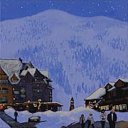 Ski Painting Originals - Schweitzer Nights by Robert Bissett
