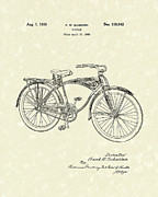 Bicycle Drawings - Schwinn Bicycle 1939 Patent Art by Prior Art Design