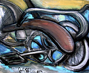 Bicycles Paintings - Schwinn Bike Abstract  by Jon Baldwin  Art