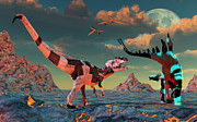 Stegosaurus Prints - Sci-fi Scene Of Allosaurus Print by Mark Stevenson