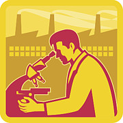 Microscope Posters - Scientist Researcher Factory Building Retro Poster by Aloysius Patrimonio