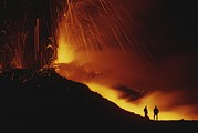 Volcanoes Prints - Scientists Stand Close To The Action Print by Carsten Peter