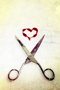 Bloody Framed Prints - Scissors And Heart Framed Print by Joana Kruse