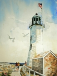 American Flag Painting Originals - Scituate Light by P Anthony Visco