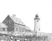 New England Ocean Drawings Posters - Scituate Lighthouse Poster by Tim Murray