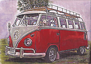 Historic Vehicle Pastels Prints - Scoobie Split Print by Sharon Poulton