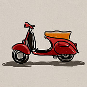 Screen Print Digital Art Framed Prints - Scooter classic style. Framed Print by Panupong Roopyai