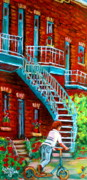 Montreal Landmarks Paintings - Scooter Ride Along Coloniale Street by Carole Spandau