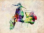 Urban Watercolor Digital Art Prints - Scooter Urban Art Print by Michael Tompsett