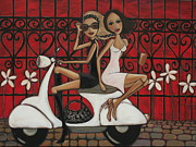 Scooter Paintings - Scooting the Breeze by Denise Daffara