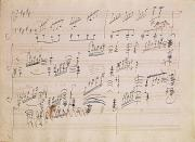 Pen Ink Posters - Score sheet of Moonlight Sonata Poster by Ludwig van Beethoven