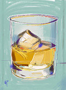 Alcohol Mixed Media Posters - Scotch on the Rocks Poster by Russell Pierce
