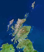 Outer Hebrides Posters - Scotland, Uk, Satellite Image Poster by Planetobserver