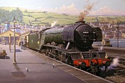 Locomotive Paintings - Scotsman at Kingswear by Mike  Jeffries