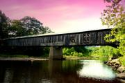 Covered Bridges Metal Prints - Scott Bridge in Pink Metal Print by Emily Stauring
