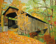 Covered Bridge Painting Metal Prints - Scott covered bridge Metal Print by Jim Peirce