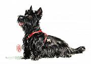 Portrait Painter Posters - Scottie Poster by Debra Jones