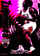 Basketball Abstract Digital Art Posters - Scottie Pippen Poster by Marsha Heiken