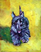 Scottish Terrier Framed Prints - Scottie Trot  - Scottish Terrier Framed Print by Lyn Cook