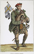 Kilt Posters - Scottish Bagpiper, 1786 Poster by Granger