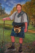 Pleated Skirt Framed Prints - Scottish Golfer Framed Print by Phyllis Barrett