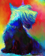 Pet Portrait Drawings Framed Prints - Scottish Terrier Dog painting Framed Print by Svetlana Novikova