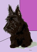 Scottish Digital Art - Scottish Terrier by George Pedro