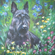 Scottish Terrier Puppy Prints - Scottish Terrier in the garden Print by Lee Ann Shepard