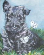 Scottish Terrier Puppy Prints - Scottish Terrier with butterflies Print by Lee Ann Shepard