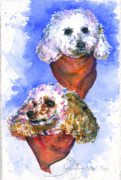 Puddle Painting Prints - Scotts Dogs Print by John D Benson